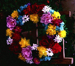 Paper flower corona or wreath by Josefina Lizárraga, Tucson, June, 1982 [image courtesy of James S. Griffith]