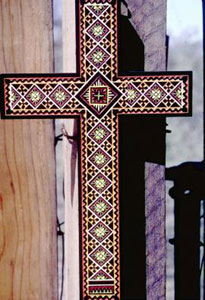 Cross by Stefan Tkachyk, in the style which involves incised lines filled with paint. 1982  [image courtesy of James S. Griffith]