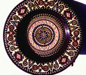 Plate by Stefan Tkachyk, utilizing his chip-carving and bead inlay style 1983 slide [image courtesy of James S. Griffith]